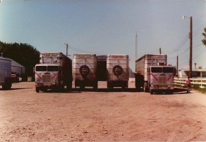 Sawyer trucks in the yard